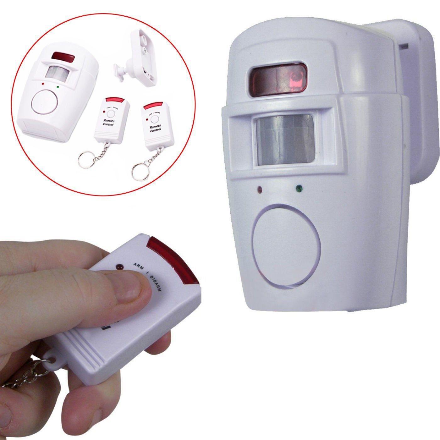 Wireless PIR Bewegungssensor Alarm Einbruchalarm Bewegungsalarm 2 Fernbedienungen Home Security Shed Garage
