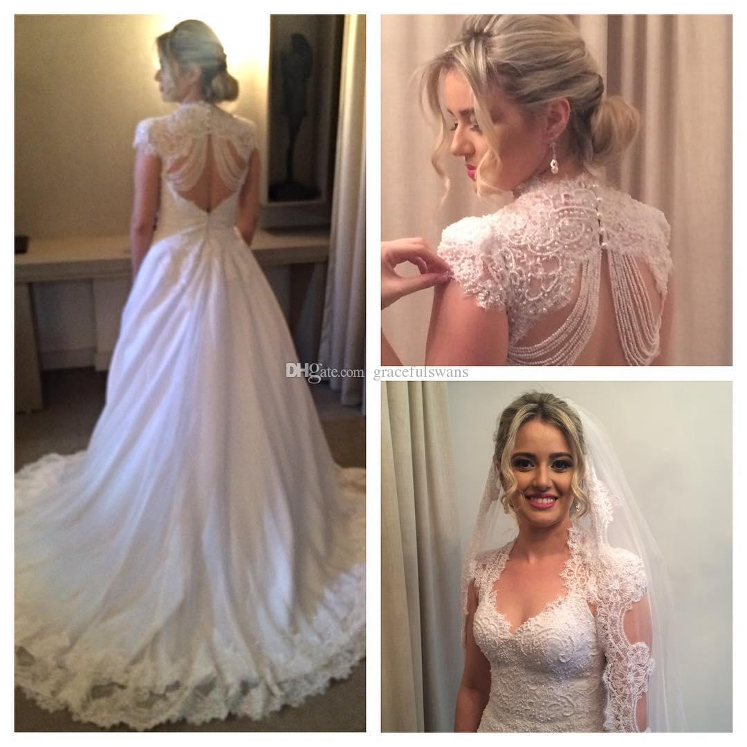Lace Wedding Dresses 2019 Newly A-Line Sweetheart Open Back with Beading Wedding Gowns Cap Sleeve Vintage Bridal Dresses
