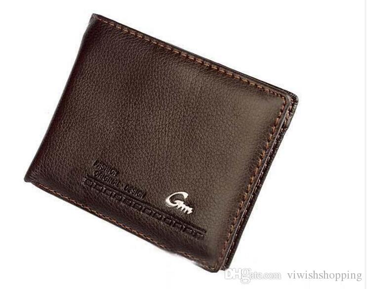 Neue top qualität 2017 männlich echtes leder luxus brieftasche beiläufige kurze designer kartenhalter tasche mode geldbörse brieftaschen für männer