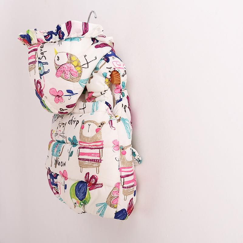 2016 autumn winter children jackets animal owl bird printed baby girl's thick warm vest hot sale girl sweaters kids winter coat