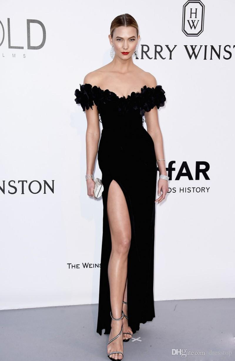 2019 Schwarz Marchesa Split Abendkleider Mantel Schulterfrei Party Abendkleider Samt bodenlangen Celebrity Dress
