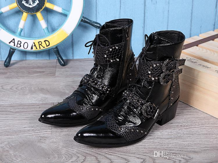Luxury Pointed-toe Ankle Boots for Men's Party Wedding Shoes Men Fashion Boots Genuine Leather Botas Plus Size EU 38-46