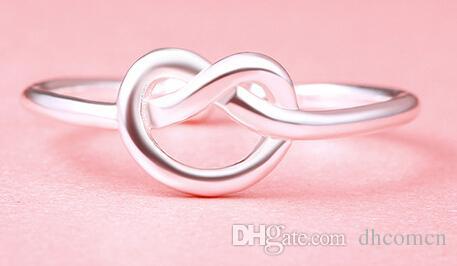 Herz Knoten Silber Farbe Ring Für Frauen Neue Design Mode Stil Geschenk Nette Reizende Für Mädchen Party Liebe Ringe