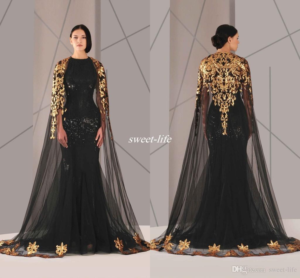 Preto Árabe Muçulmano Vestidos de Noite Tulle Manto Ouro e Preto Lantejoulas Tripulação Pescoço 2016 Plus Size Sereia Formal Wear Longo Pageant Prom Dress