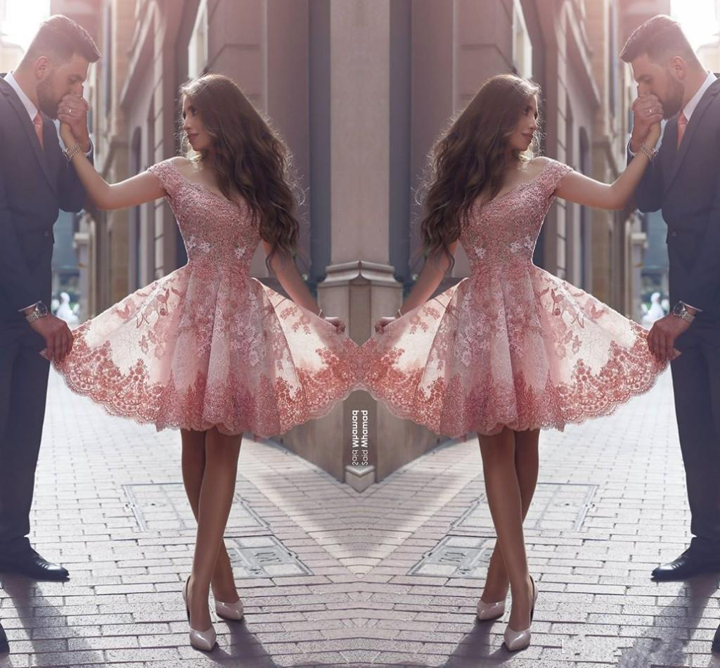 ef46b112d2a9f 2018 Dusty Pink New Arabic Style Homecoming Dresses Off Shoulders Lace  Appliques Cap Sleeves Short Prom Dresses Backless Cocktail Dresses  Homecoming Red ...