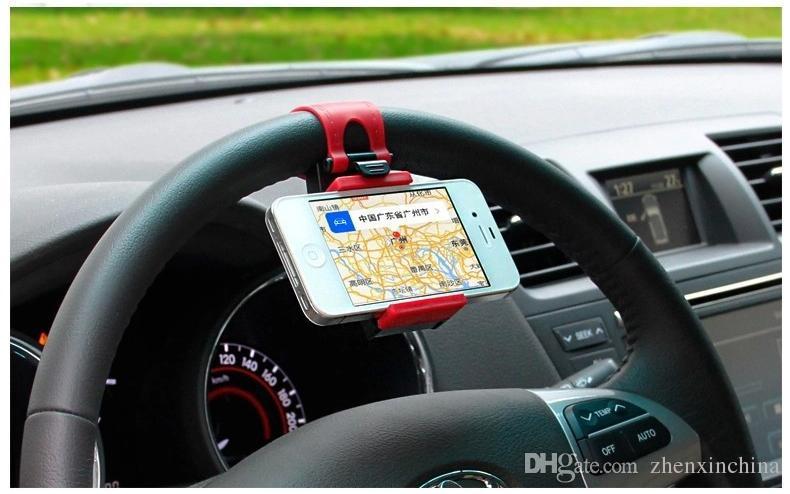 Araba için Streing Direksiyon Cradle Tutucu Klip Araba Bisiklet Montaj iPhone 7 7 artı 5 6 6 artı Perakende Paketi Ile Samsung s5 S4 NOT 2 GPS