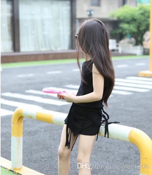 2016 ragazze estate Oufits ragazze di stile coreano moda ragazza nappa senza maniche maglia + pantaloni corti all'ingrosso bambino vestiti bambini ragazza che coprono insieme