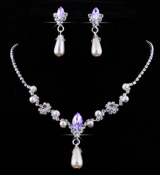 Bridesmaid Jewelry Set for Wedding Faux Pearls Rhinestone Necklace Water Drop Earrings Jewellery Set Party Jewelry Set
