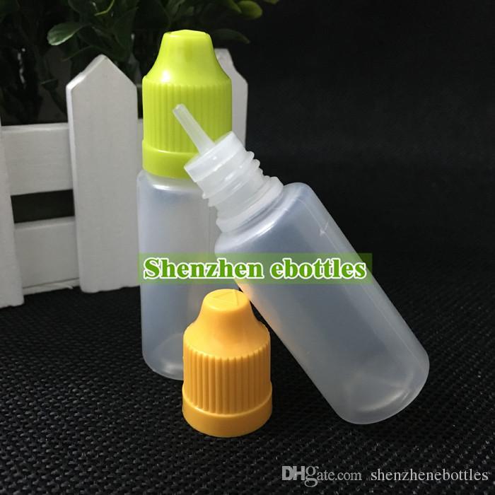 Großhandel Flaschen freies Verschiffen 15ml Plastikflasche leeren E Flüssigkunststoff Tropfflaschen mit Kind Proof Kappen und Nadelspitzen
