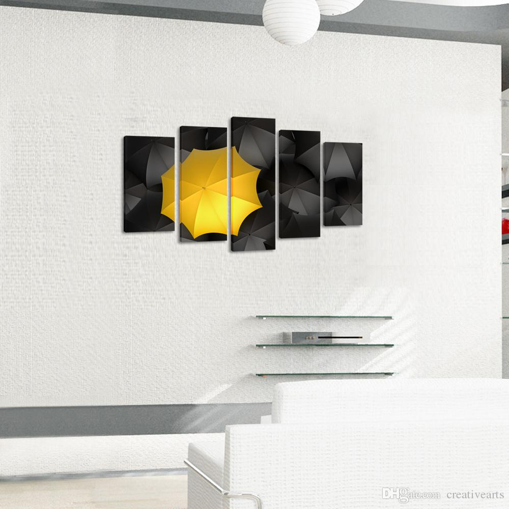 Framed Canvas Wall Art ,Contemporary Art Black Yellow Umbrella Canvas  Artwork Pictures For Living Room Wall Home Office Cafe Decoration