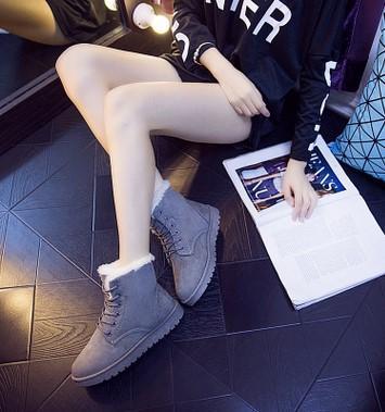 2016 новая зимняя обувь. Монохроматический. Боты. женская обувь. Толстая основа. Добавьте хлопок. Короткие сапоги. Женские сапоги.Повседневная обувь