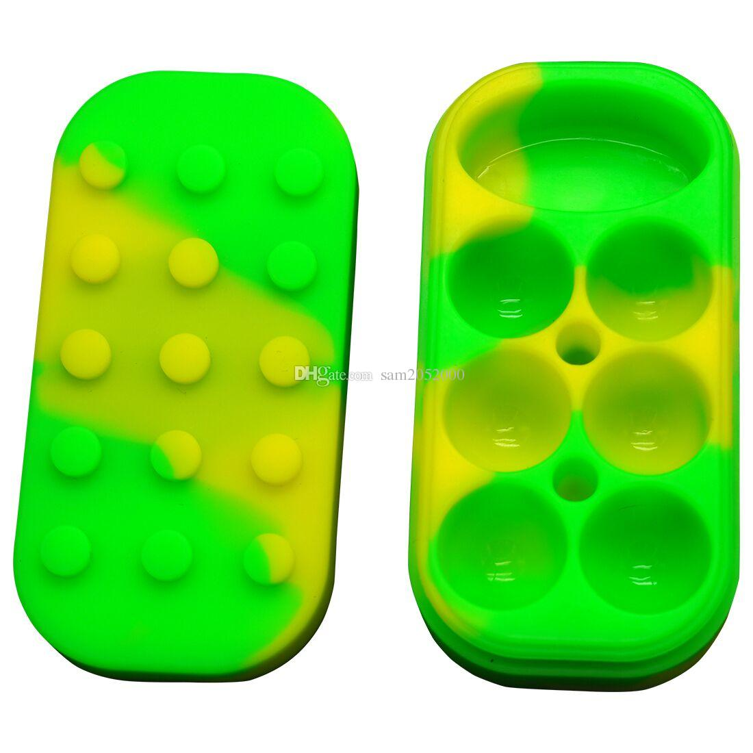 Mayor-Rico color 34ML 6 + 1 Cera Contenedor de silicona Cera Hierbas secas Forma Contenedor de silicona para hierbas secas con 7 compartimentos