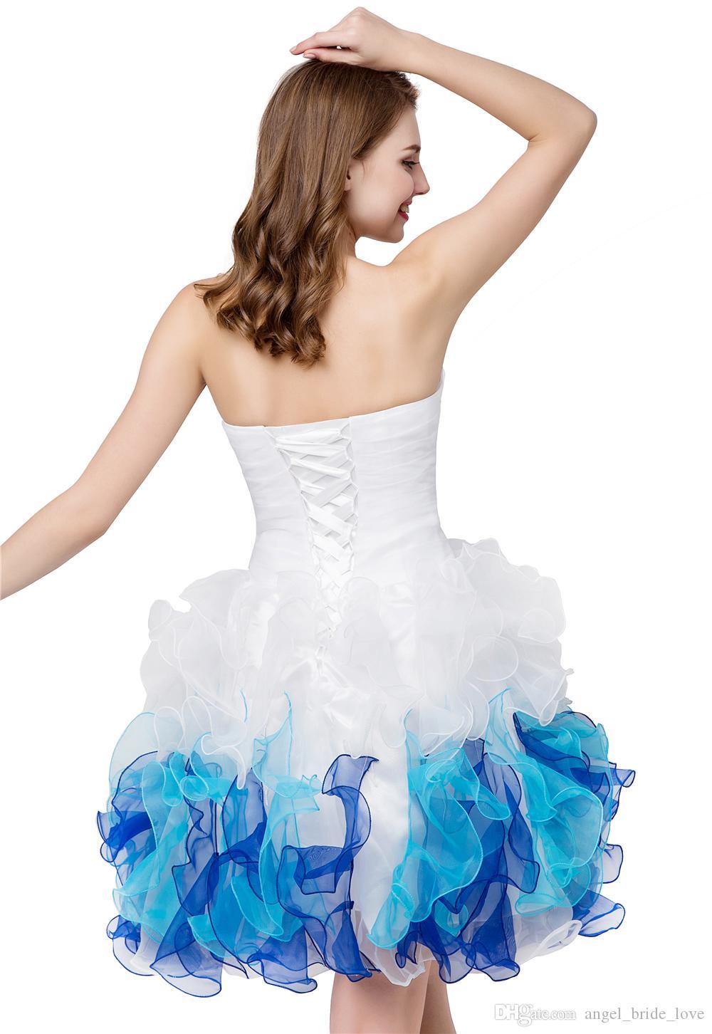 2019 Прекрасный В Наличии Белый Синий Милая Органза Дешевые Короткие Платья Возвращения домой Милая Выпускной Вечернее Платье Вечернее Платье QS1060