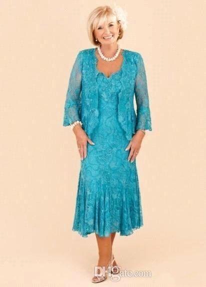 Hunter Full Lace Mother Dresses 2016 Custom Gjorda Elegant En Linje Te-längd Mamma Brudgummens klänningar med spets bolero kvällsklänningar