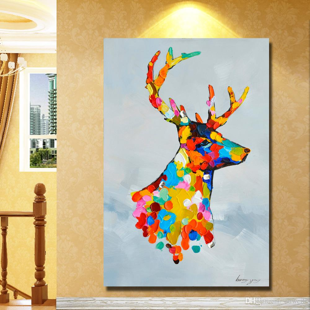 Large size cheap christmas deer pictures abstract animal oil painting hand made decorative holiday indoor decoration