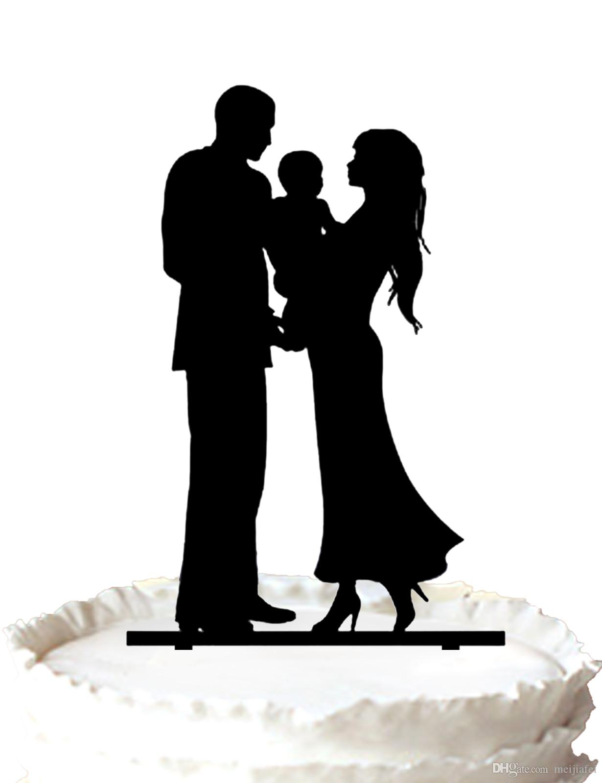 2018 Family Acrylic Wedding Cake Topper Silhouette Bride Groom