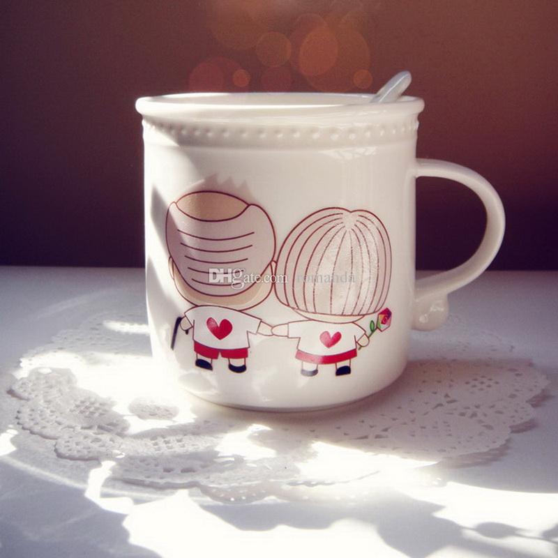 Творческий изменение цвета кружки стареют вместе магия Теплочувствительная пара Керамическая кружка кофе с ложкой DHL Бесплатная доставка