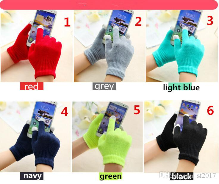 Colorful Winter warm touch gloves Cotton capacitive screen conductive glove for iphone X 8 7 6 6S plus Samsung S8 ipad air