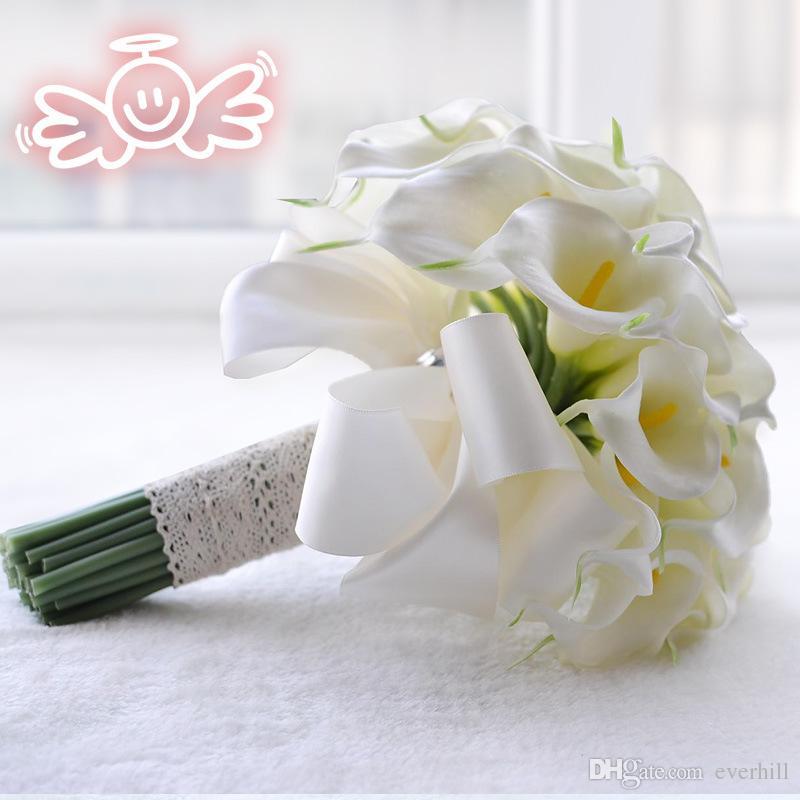 Jane Vini 30 White Calla Lily Artificial Bridal Wedding Flower Bouquet Lace Handle Yellow Bride Bouquets Crystal Wedding Bouquet Accessories