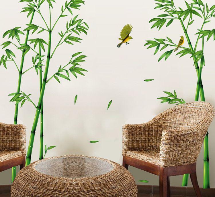 Stile caldo Popolare TV Parete della stanza del salotto Divano Decorare gli adesivi murali Bastone del vento cinese Profondità di foresta di bambù