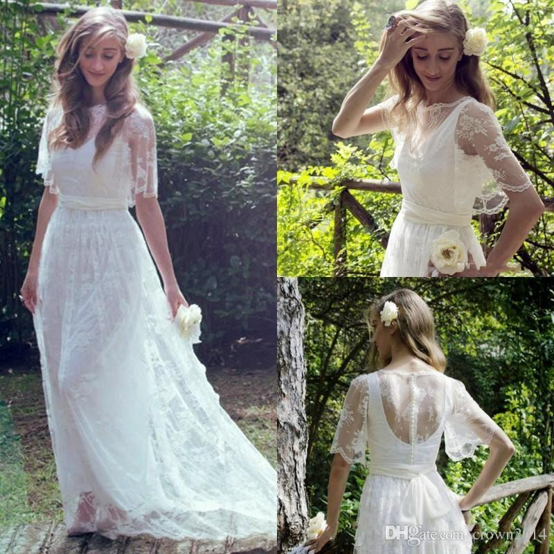 c1c2b35ebb Discount 2019 Bohemian Fairy Beach Lace Wedding Dresses Jewel Half Sleeves  Long Sheer Modest Country Bridal Gowns Sweep Train Maternity Wedding Gowns  ...
