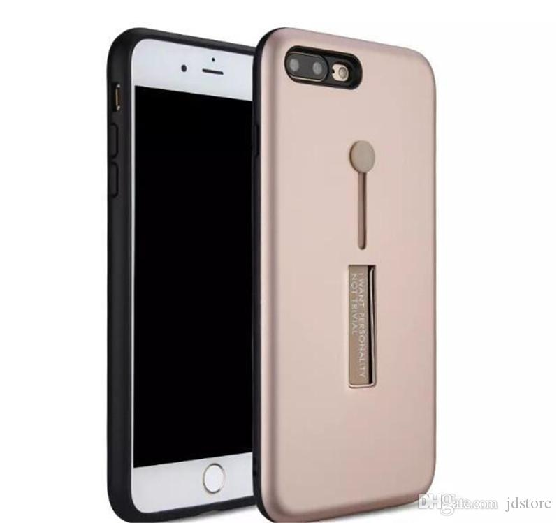 wholesale dealer a0ebe 390d4 Removable Finger Ring Phone Case For Iphone 6 6 Plus 7 7 Plus Case 2 in 1  Rubber Finger Holder and Kickstand Cellphone Case