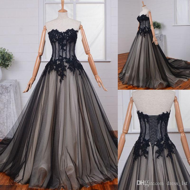 df6d6c329044 Discount Real Photo 2017 Vintage Black Tulle Wedding Dresses With Lace  Applique Beads Champagne Lining Bridal Gowns Gothic Custom Made EN10282  Dresses For A ...