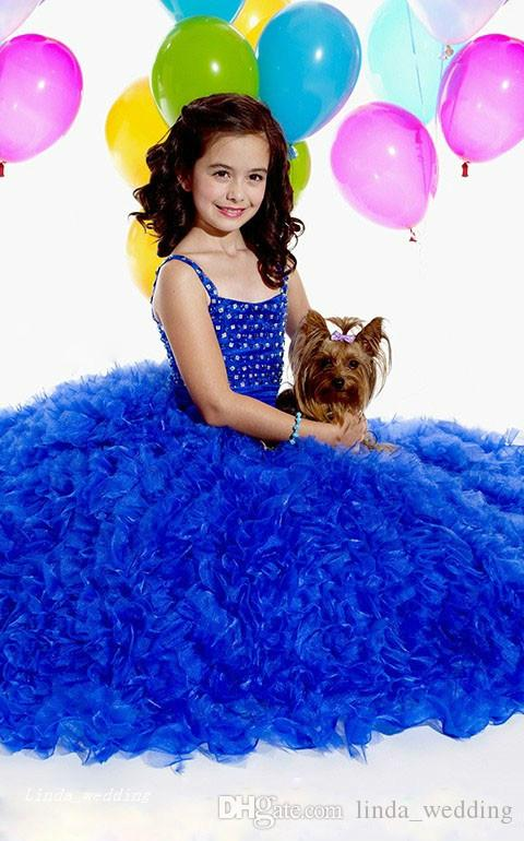 High Quality Cute Beauty Royal Blue White Girl's Pageant Dress Princess Organza Party Cupcake Flower Girl Pretty Dress For Little Kid