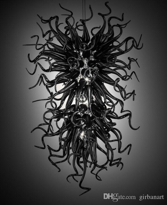 Einfache Beleuchtung Weiß oder Schwarz Glas dekorative Kette Anhänger Kronleuchter Licht Stil Murano Glas American Style Kronleuchter