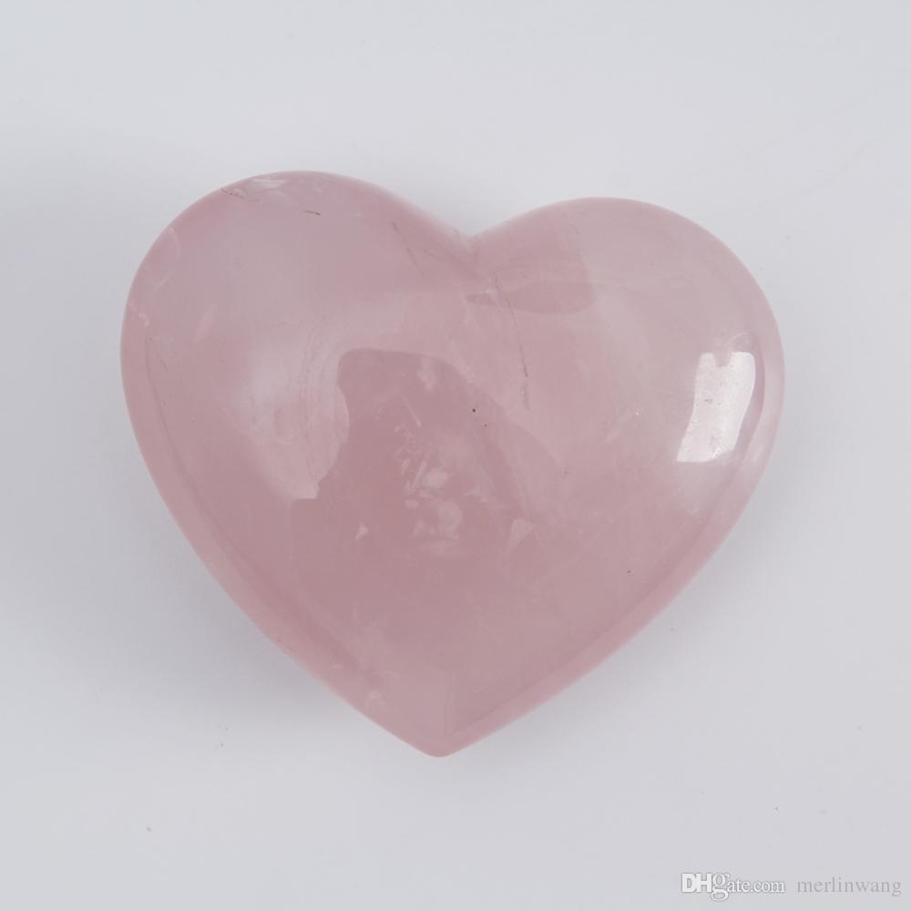 HJT 2.2nch Quartz rose crystal Heart Carving Craft Stone Chakra Healing Reiki Stones Lover gife stone crystal Heart shape