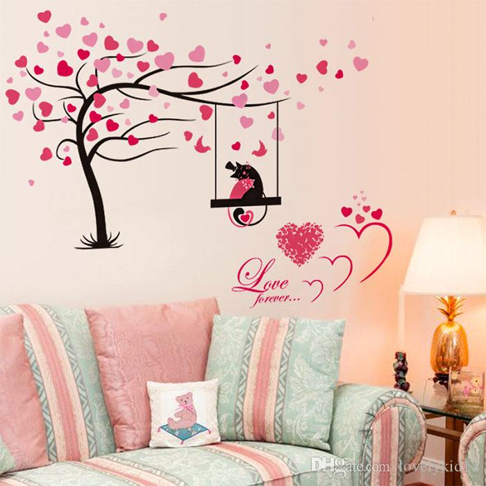 Lovely Love Tree Heart Wall Stickers Romantic Forever Decals For Living Room Bedroom Home Decorations Ws565 Decor Designs