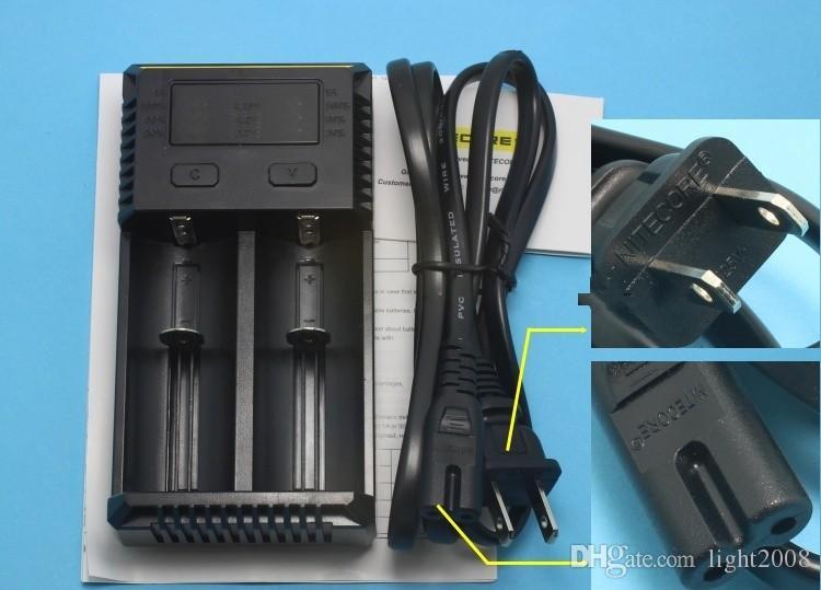 Genuine Nitecore I2 carregador universal para 16340 18650 14500 26650 Bateria E Cig 2 em 1 Muliti Função Intellicharger recarregável navio livre
