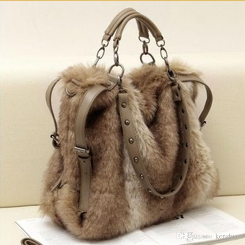 2016 Women S Leather Handbag Fashion Faux Rabbit Fur Totes Stud Bags Winter Shoulder  Bag Cross Body Cool Messenger Bag Rivet Purse TM003 Handbags On Sale ... 4fe57beeaf779