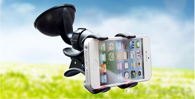 Качество для держателя автомобиля зажима двойника ифоне 7, легкого в использовании держателя телефона лобового стекла вращения универсалии 360°для пакета розницы сотового телефона ДБ