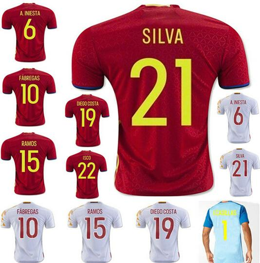 16 17 spain home red soccer jerseys thai quality isillas fabregas isco a.