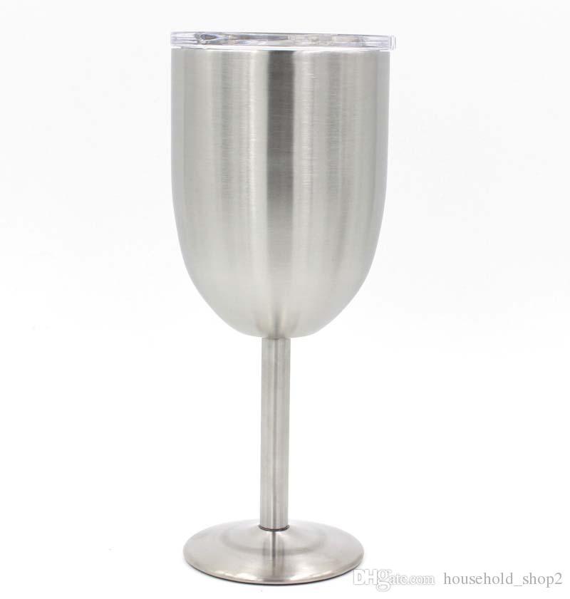 Argent 10OZ verres de vin à double couche en acier inoxydable gobelets tasse vin bière basse en verre de vin avec couvercle