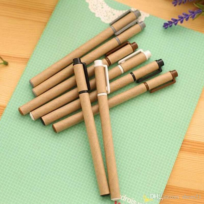 New Kraft Paper Pen Environmental Friendly Recycled Paper Ball Point Pen Writing Supplies Papelaria