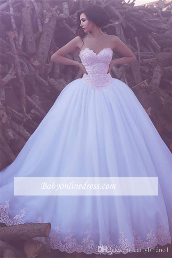 2017 Nouveau chérie élégant Tulle robe de bal Appliques robes de mariée arabe balayage train dentelle robe de mariée Robes de mariée Custom Made