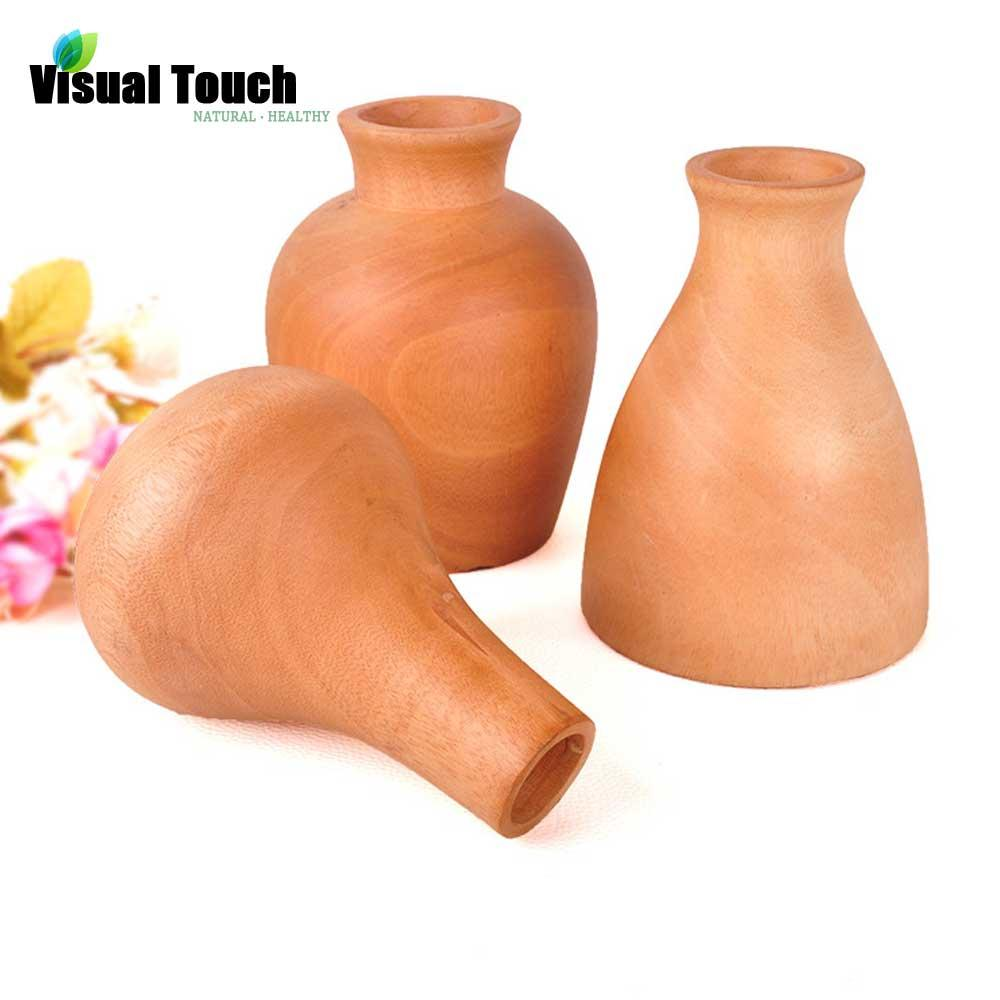 Unique 3 Type Solid Wood Vases Home Decor Tabletop Wooden Vases