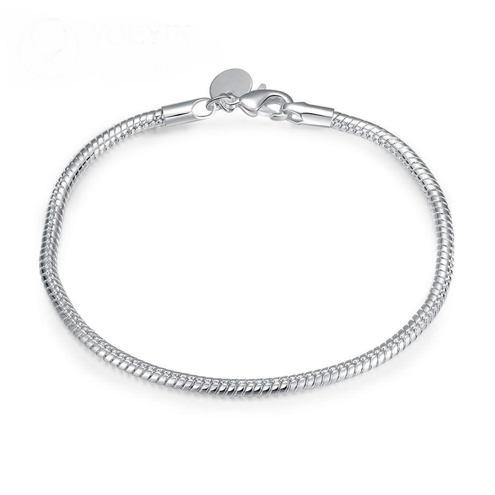 Charm Bracel for Women Wholesale! Free Shipping Wholesale bracelet,hot solid silver plated fashion jewelry Flat Snake Bone Bracelet & Bangle