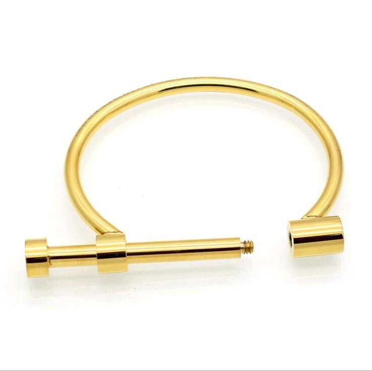 Personalidad Shackle Screw Bracelet Cuff Letra D broche vachette Pulseras de acero inoxidable Oro rosa plateado brazalete para hombres mujeres