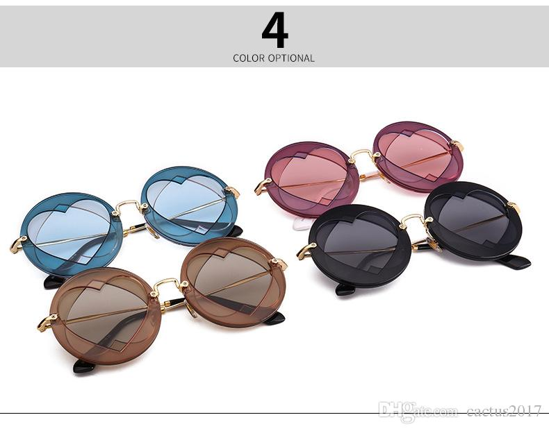 Summer Round Sunglasses Women Popular Brand Loving Heart Style Sun Glasses Lady Shades Fashion Female Vintage Glasses double love heart