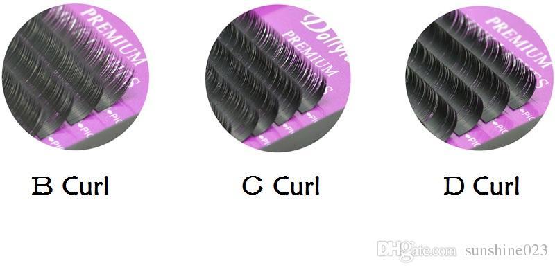 Extensión de la pestaña de alta calidad de visón pelo individual pestañas postizas / lote B C D enrollamiento envío gratis