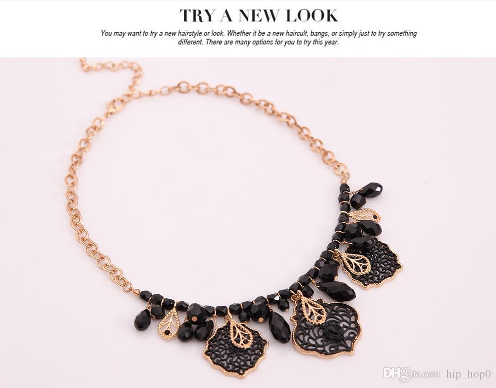 보헤미아 빈티지 블랙 구슬 꽃 초커 목걸이 새로운 패션 성명 목걸이 여성 액세서리 여성 쥬얼리 선물 2016 뜨거운 판매