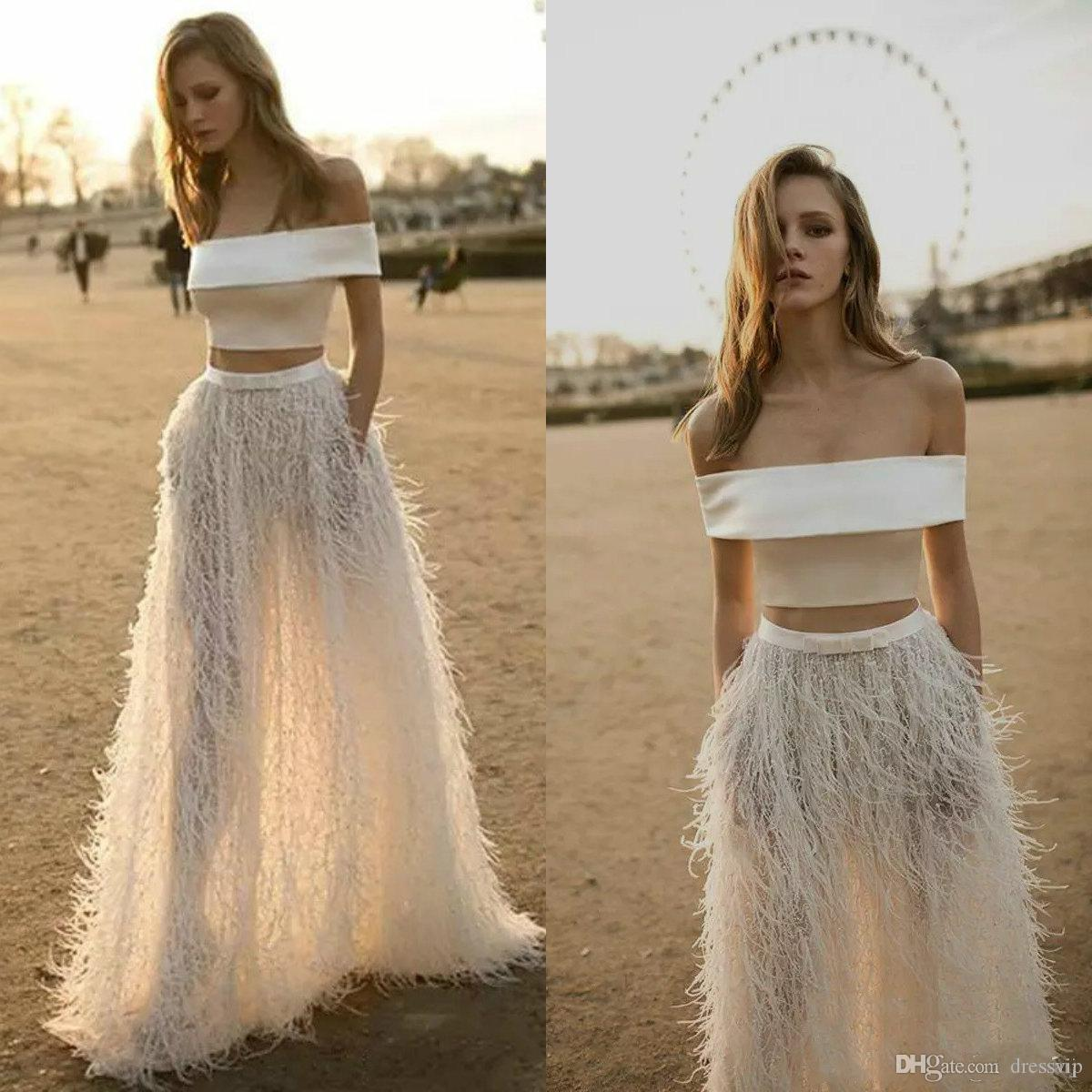Luxury Feathers Off Shoulder Two Pieces Evening Gown Floor Length ...