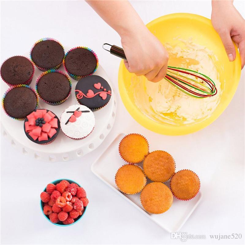 10-Zoll-Silikon-Bakewear-manuelle Schneebesen-Milch-Sahne-Butter-Rührbesen-Mischer-Küchen-Mischmaschine Schöne Art-Edelstahl-Griff-Ballon-Draht