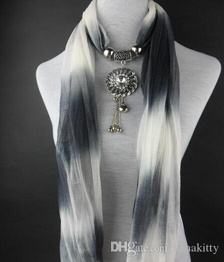 HWJ1005 Alloy+CCB drop Pendant Scarf Women Colorful Gradient Fashion Scarf Elegant Charm Neck Shawl Free Ship