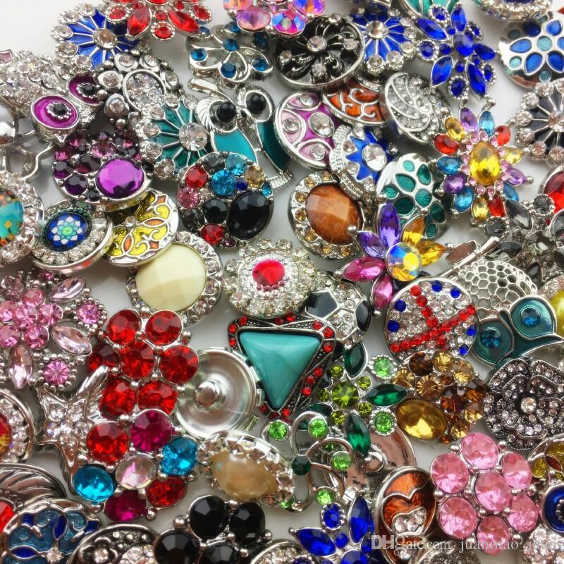 Оптовая 18 мм имбирь Оснастки кнопка горный хрусталь смешанный стиль, пригодный для Нуса кожаные браслеты ожерелье ювелирные изделия DIY аксессуары