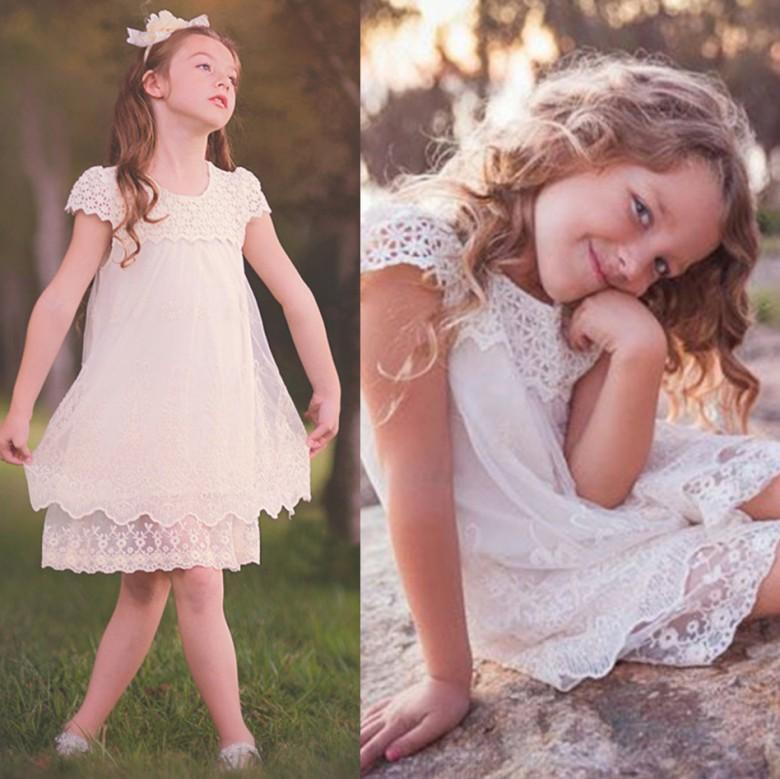 c34a11ba6a13 2017 Summer Beach Garden Boho Flower Girl Dresses Lace Princess Cap ...