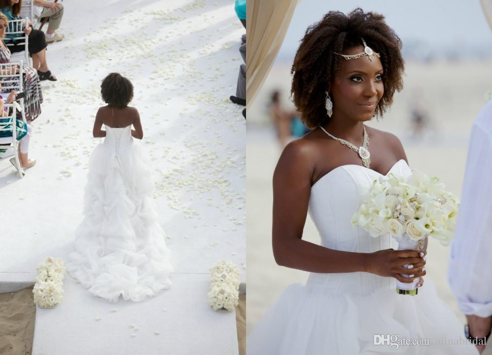 2016 Beach Hi Lo Vestidos de novia Sweetheart Cascading Ruffles Estilo africano Corsé Trasero Vestidos De Novia Vestidos de Novia Elegantes